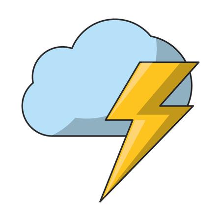 Illustration pour air cloud with thunder cartoon vector illustration graphic design - image libre de droit