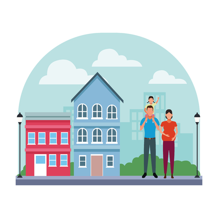 Ilustración de family avatar cartoon character couple pregnant with child   in the neighborhood cityscape scenery vector illustration graphic design - Imagen libre de derechos
