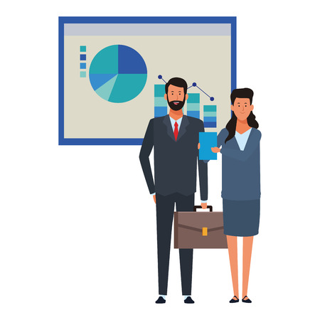 Ilustración de business couple with infographics data chart business icon vector illustration graphic design - Imagen libre de derechos