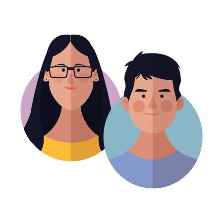 Illustrazione per Young friends cartoons round icons vector illustration graphic design - Immagini Royalty Free