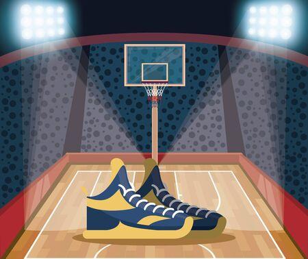 Ilustración de Basketball court and stadium with fans and lights scenery vector illustration graphic design - Imagen libre de derechos