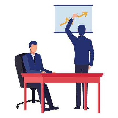 Ilustración de business business people businessman back view pointing a data chart and businessman sitting on a desk avatar cartoon character vector illustration graphic design - Imagen libre de derechos