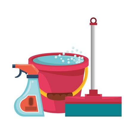 Illustration pour Cleaning equipment and products mop and disinfectant with water bucket vector illustration graphic design. - image libre de droit
