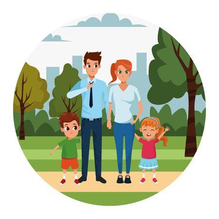Foto de cartoon happy young parents and kids in the park, colorful design. vector illustration - Imagen libre de derechos