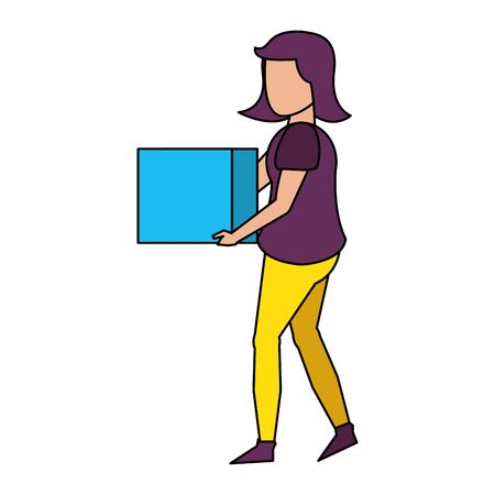 Illustration pour young woman body without face wearing purple blouse and holding cube cartoon vector illustration graphic design - image libre de droit