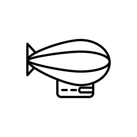 Illustration pour zeppelin airship transport linear design vector illustration - image libre de droit