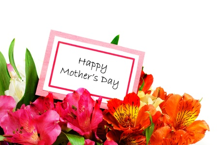 Happy Mothers Day Card among colorful flowers forming a border over white