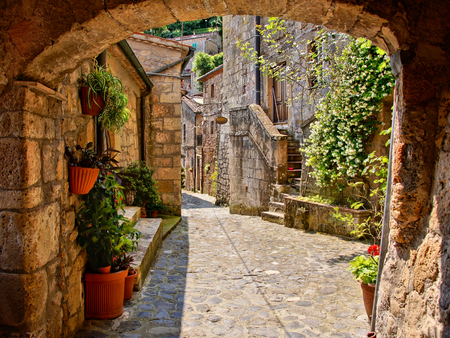 Arched cobblestone street in a Tuscan village Italy mural