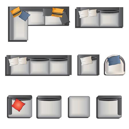 Ilustración de Sofa top view set 1 for interior, vector illustration - Imagen libre de derechos
