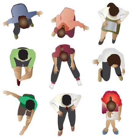 Ilustración de People sitting top view, set 3, vector illustration - Imagen libre de derechos