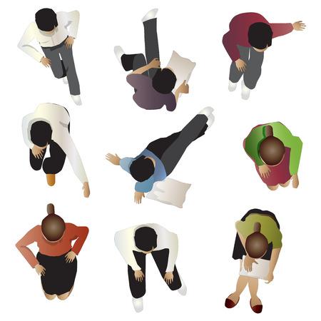 Ilustración de People sitting top view, set 4, vector illustration - Imagen libre de derechos