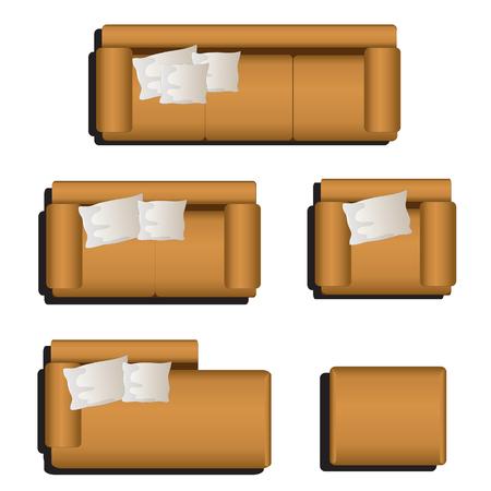 Ilustración de Furniture top view set 30 for interior ,vector illustration - Imagen libre de derechos