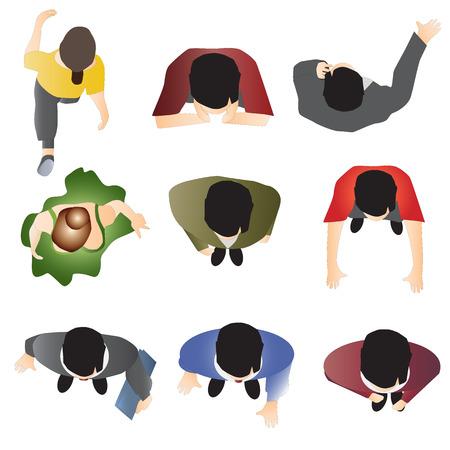 Ilustración de people standing top view set 10 for interior , vector illustration - Imagen libre de derechos