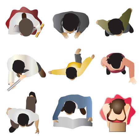 Illustration pour people standing top view set 8 , vector illustration - image libre de droit