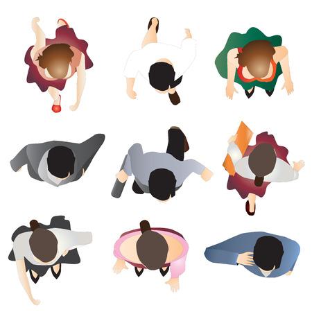 Illustration pour people standing top view set 9 , vector illustration - image libre de droit