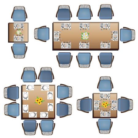 Ilustración de Dining furniture top view set 3 for interior, vector illustration - Imagen libre de derechos