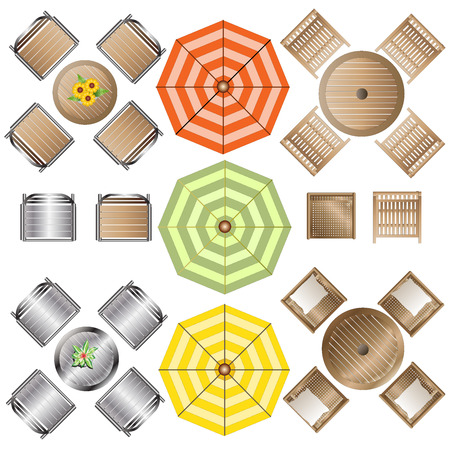 Ilustración de Outdoor Furniture top view set 1 for Landscape Design , vector illustration - Imagen libre de derechos
