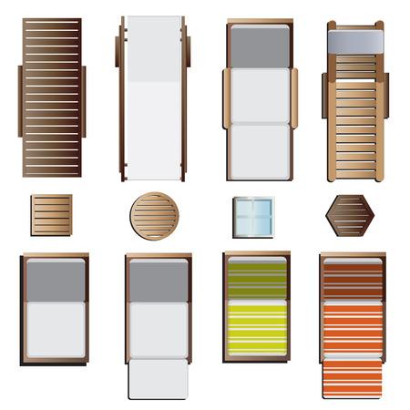 Illustration pour Outdoor furniture , sunbeds set top view set 8 for landscape design , vector illustration - image libre de droit