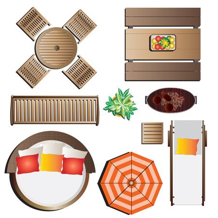 Illustration for Outdoor furniture top view set 13 for landscape design , vector illustration - Royalty Free Image
