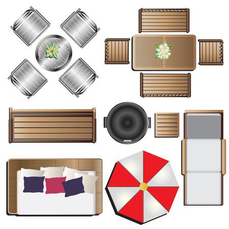 Illustration pour Outdoor furniture top view set 14 for landscape design , vector illustration - image libre de droit