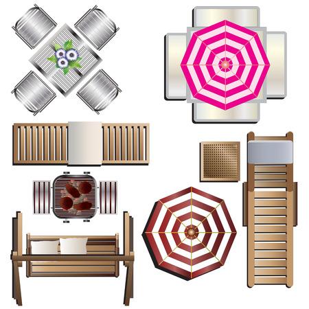 Illustration pour Outdoor furniture top view set 18 for landscape design , vector illustration - image libre de droit