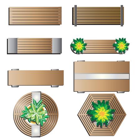Illustration pour Outdoor furniture, Bench top view for landscape design set 5 , vector illustration - image libre de droit