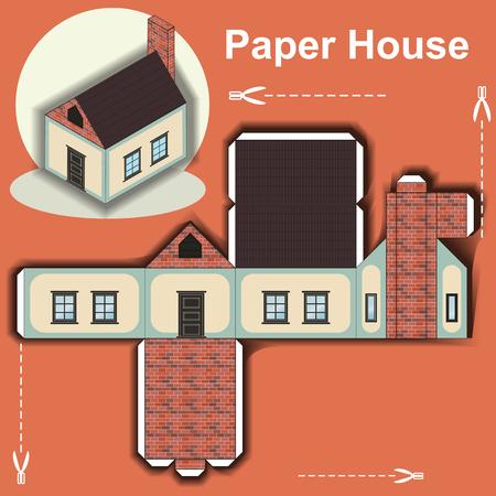 Illustration pour Paper House Template - image libre de droit