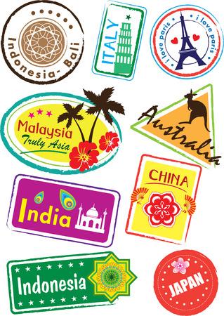Foto de World country travel landmark icon set - Imagen libre de derechos