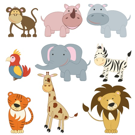 Photo for Cartoon african animals set on white background - Royalty Free Image