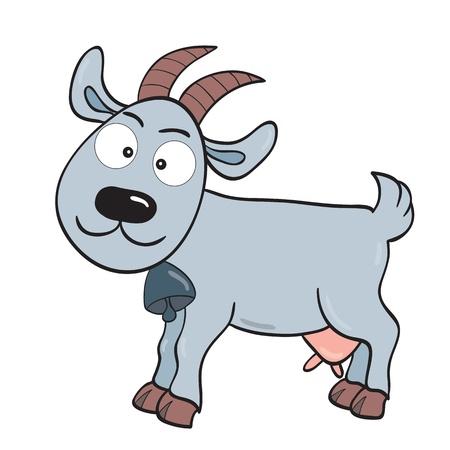 illustration of smiling cute cartoon goat.