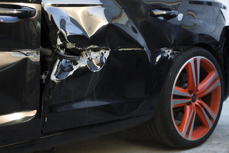Photo for broken black car door - Royalty Free Image