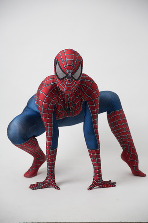Photo pour Israel, Tel Aviv October 14, 2018: Man in a Spiderman costume outside the Tampa Convention Center during Comic Con - image libre de droit