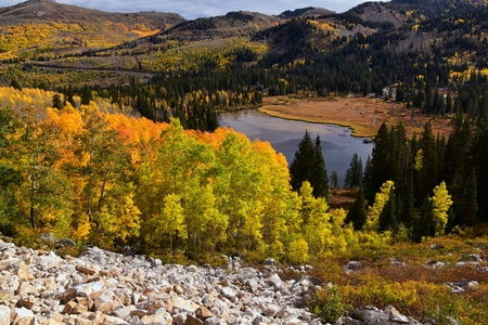Foto de Silver Lake by Solitude and Brighton Ski resort in Big Cottonwood Canyon. Panoramic Views from the hiking and boardwalk trails of the surrounding mountains, aspen and pine trees in brilliant fall autumn colors. In the Rocky Mountains, Wasatch Front, Utah, USA. - Imagen libre de derechos
