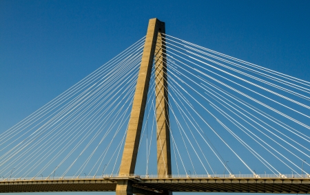 Cable supports and diamond cantilever truss on the Ravenel Bridge, Mt Pleasant to Charelston, SC