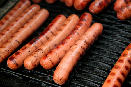 Photo for hot dogs on a barbecue grill - Royalty Free Image