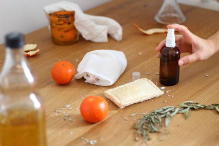 Foto de Homemade citrus cleaner. Zero waste home cleaning concept. Eco home cleaning. - Imagen libre de derechos
