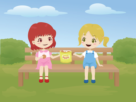 Illustration pour Kids sharing food while sitting on a bench in the park - image libre de droit