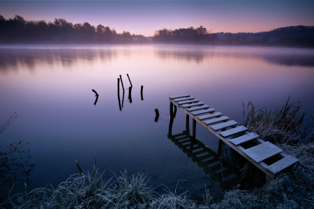 Photo pour Misty lake in early morning - image libre de droit