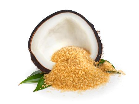 Photo pour Coconut half and coconut sugar on white - image libre de droit