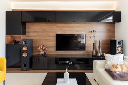 Photo pour Elegant living room with black and oak cabinets - image libre de droit