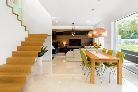 Photo for Real home interior of dinning and living room - Royalty Free Image