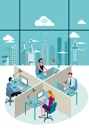 Ilustración de Office Workers Sitting at their desks working with laptop. At their back, through a big window, there is a city with skyscrapers. - Imagen libre de derechos