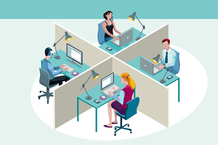 Illustration pour Four office workers in a office, working sitting at their desks, with their laptop. Isometric perspective. - image libre de droit