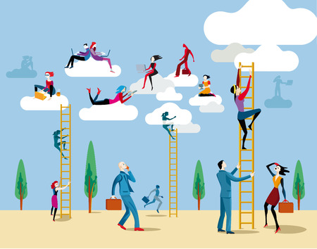 Illustration for Men and women go up to heaven by ladders to access the cloud from Which They work online and share information and knowledge. - Royalty Free Image