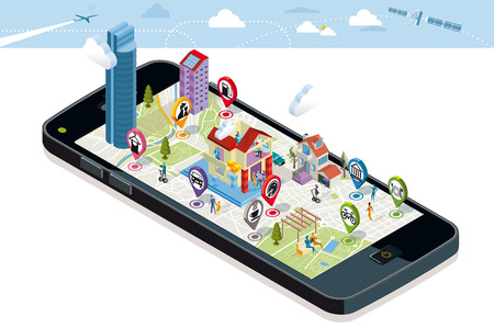 Illustration pour City map with GPS services Icons. Smartphone. On it screen a vector map of the city, where  appear pins with the location of different service icons and some buildings and people. - image libre de droit