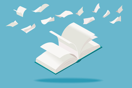Illustration pour Open book with flying white pages, in isometric perspective. - image libre de droit