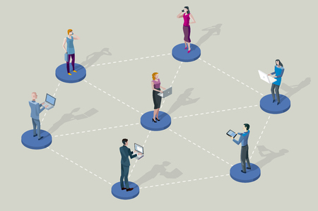 Illustration for Social network people. They are standing on pedestals circles. They are all interconnected by Their divices laptop, tablet, smartphones. - Royalty Free Image