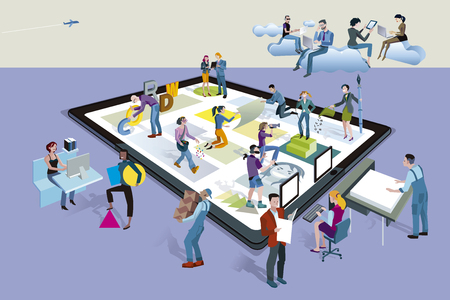 Illustration for A team of people work creatively together creating content on a tablet. Other people download this content on their mobile devices. - Royalty Free Image