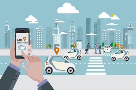 Foto de Man's hands with a smart phone with a car sharing app. Roads with car sharing cars and people walking on the street. In the skyline - Imagen libre de derechos
