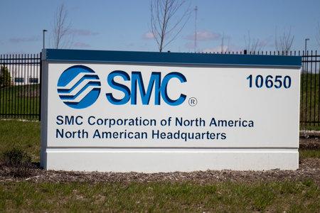 Foto de Noblesville - Circa April 2020: SMC Corporation of North America Headquarters. SMC specializes in pneumatic control engineering to support industrial automation. - Imagen libre de derechos
